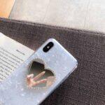 قاب ماربل طرح قلب ایینه ای مناسب برای گوشی های ایفون ۶ و ۶S